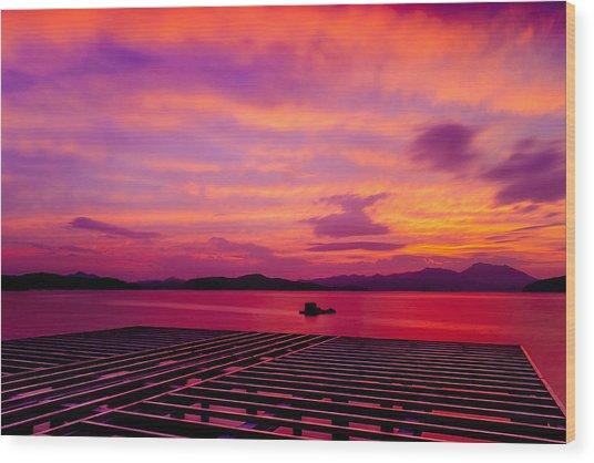 Skies Ablaze - Two Wood Print