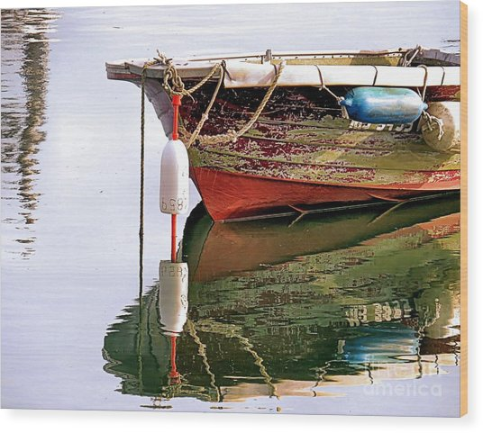 Skiff Reflections Wood Print