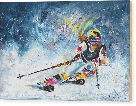 Skiing 03 Wood Print