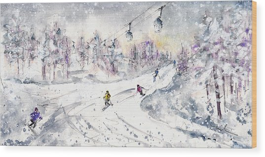 Skiing In The Dolomites In Italy 01 Wood Print