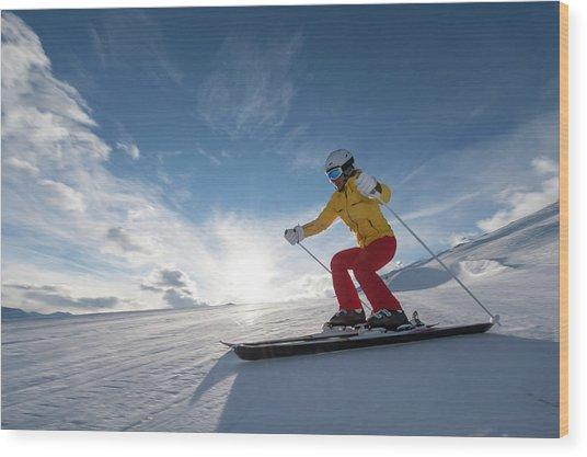 Skiing Winter Sport Wood Print