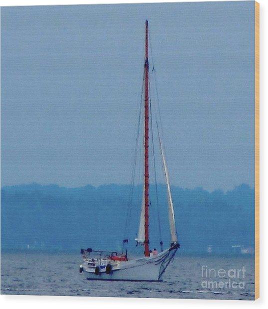 Skipjack Mast Lowering On The Bay Wood Print by Debbie Nester