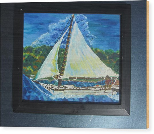 Skipjack Nathan Of Dorchester Famous Sailboat At Sea Wood Print by Debbie Nester