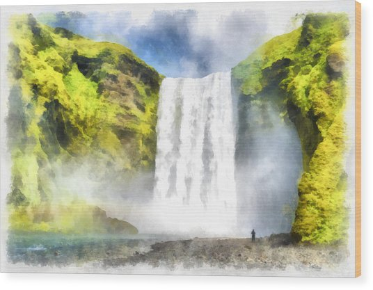 Skogafoss Waterfall Iceland Painting Aquarell Watercolor Wood Print