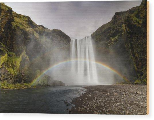 Skogarfoss Waterfall Wood Print