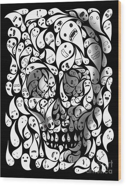 Skull Doodle Wood Print