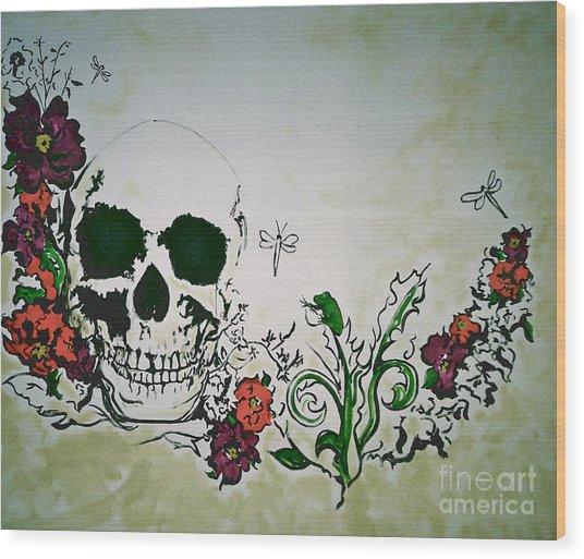 Skull Flower Mural Wood Print by Pete Maier