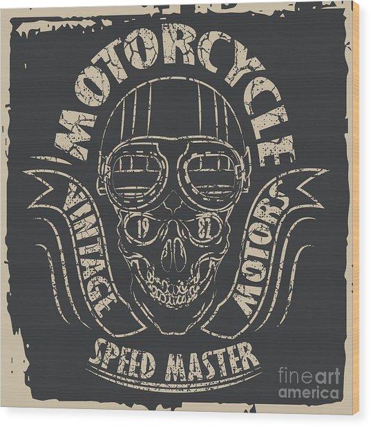 Skull Motorcycle Graphic Design Wood Print by Lakoka