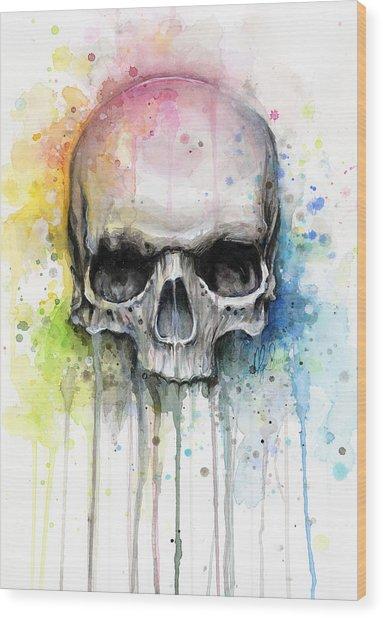 Skull Watercolor Painting Wood Print