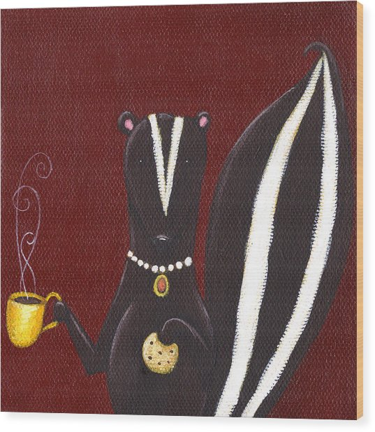 Skunk With Coffee Wood Print by Christy Beckwith