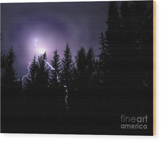Sky Bolt Wood Print