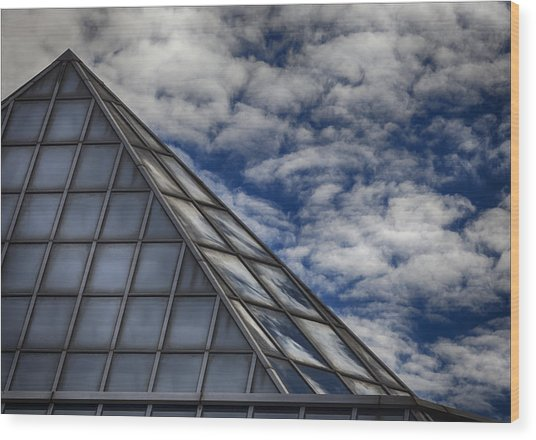 Sky Clouds And Glass Wood Print by Robert Ullmann