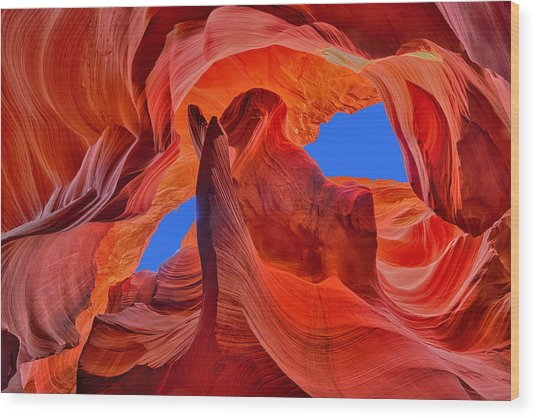 Sky Eyes In Antelope Canyon Wood Print