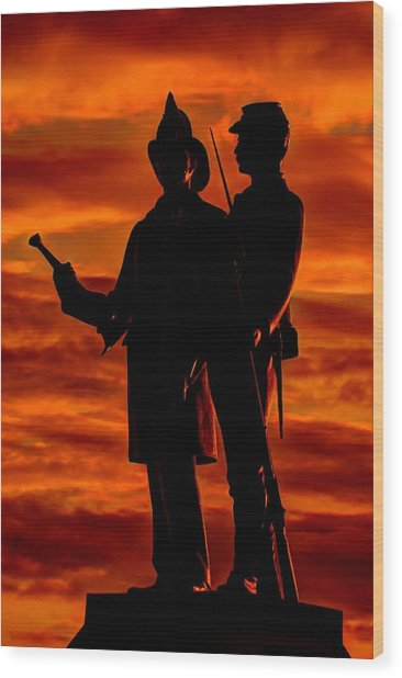Sky Fire - 73rd Ny Infantry Fourth Excelsior Second Fire Zouaves-b1 Sunrise Autumn Gettysburg Wood Print
