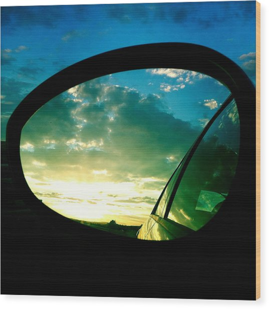 Sky In The Rear Mirror Wood Print