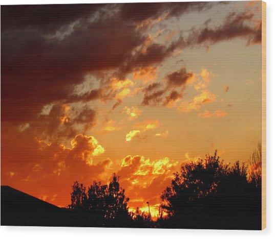 Sky On Fire. Wood Print by Joyce Woodhouse