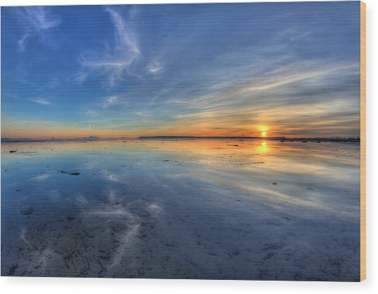 Sky Reflection In Boundary Bay Wood Print by Pierre Leclerc Photography