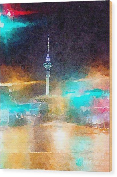 Sky Tower By Night Wood Print