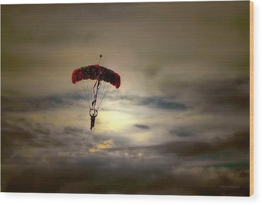 Evening Skydiver Wood Print