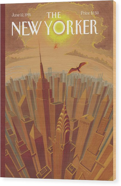 Skyline Of Nyc At Sunset With Icarus Flying Close Wood Print