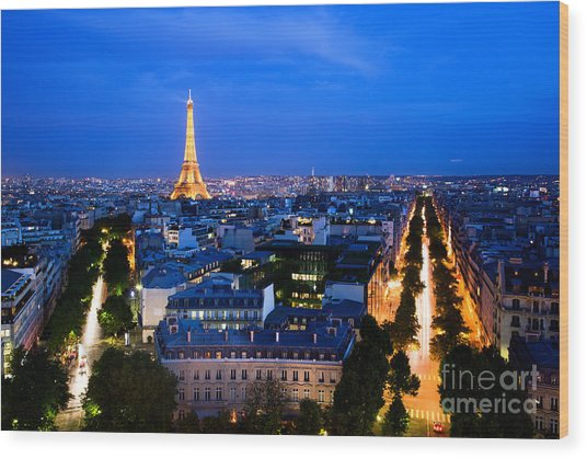 Skyline Of Paris Wood Print