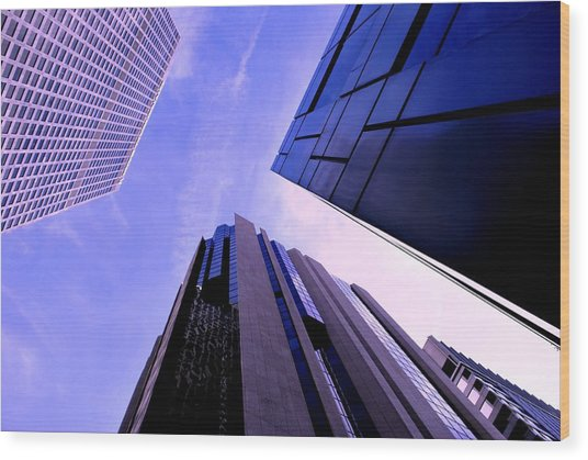 Skyscraper Angles Wood Print