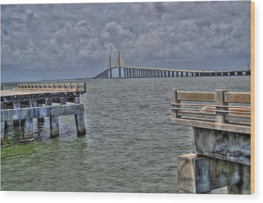 Skyway Bridge New And Old Wood Print