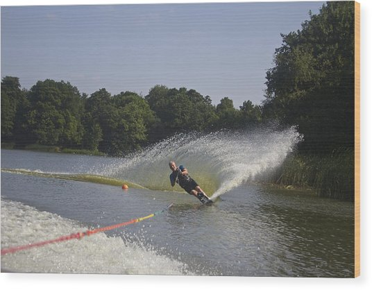 Slalom Waterskiing Wood Print