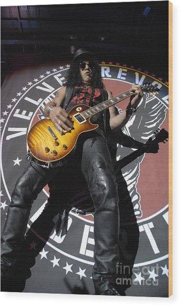 Slash Guitarist Wood Print