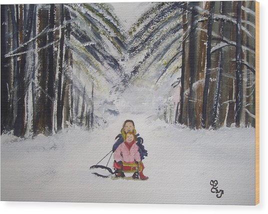 Sledging In The Wood Wood Print