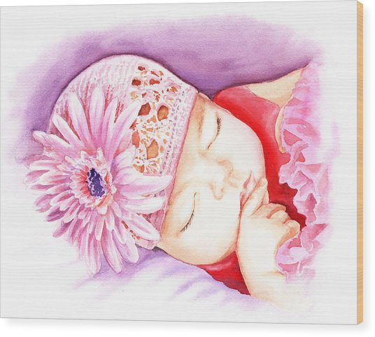 Sleeping Baby Wood Print