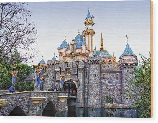 Sleeping Beauty Castle Disneyland Side View Wood Print