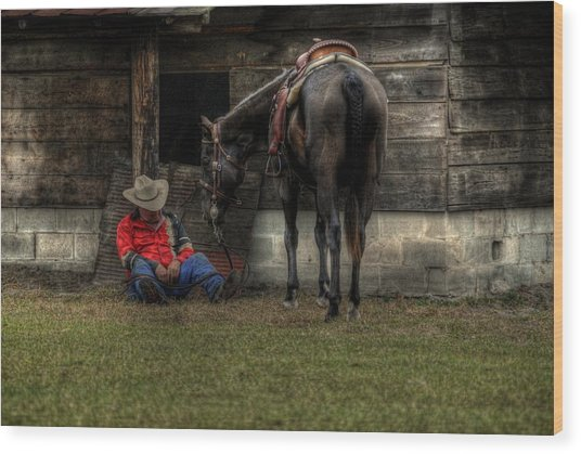 Sleeping Cowboy Wood Print