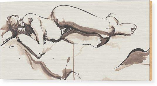 Sleeping Nude Wood Print