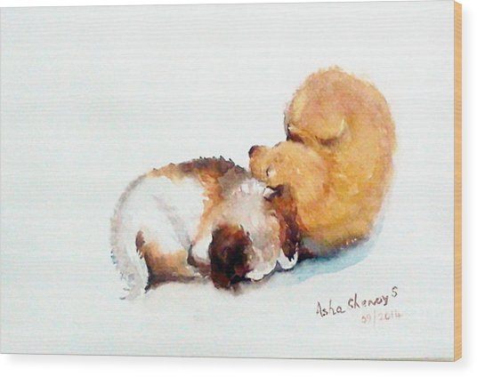 Sleeping Puppies Wood Print