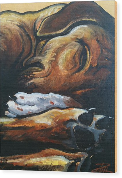 Sleeping Ridgeback Wood Print