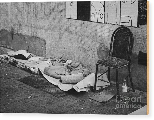 sleeping rough on the streets of Santiago Chile Wood Print by Joe Fox