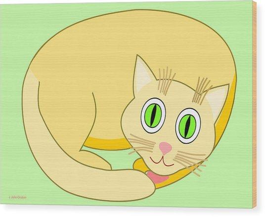 Sleeping Yellow Cat Wood Print
