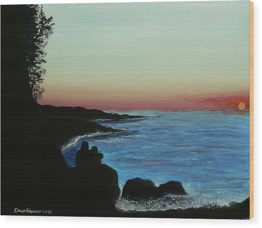 Sleepy Blue Ocean Wood Print