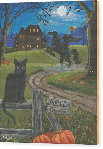 Sleepy Hollow-katrina's Cat Wood Print by Misty Walkup