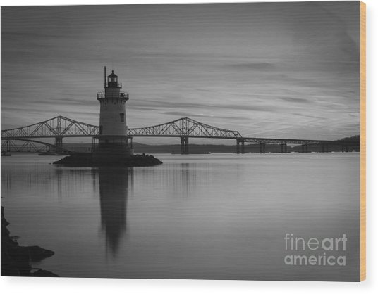 Sleepy Hollow Lighthouse Bw Wood Print