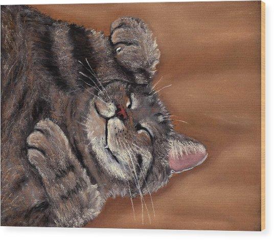 Wood Print featuring the painting Sleepy Kitty by Anastasiya Malakhova