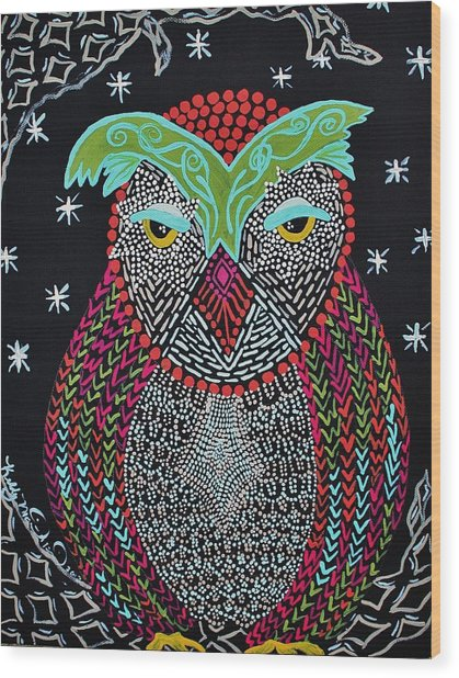 Sleepy Owl Wood Print