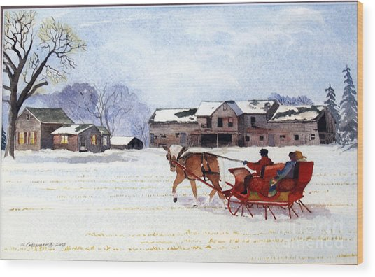 Sleigh Ride Wood Print