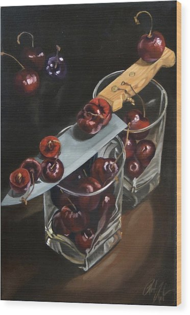 Sliced Black Cherries Wood Print