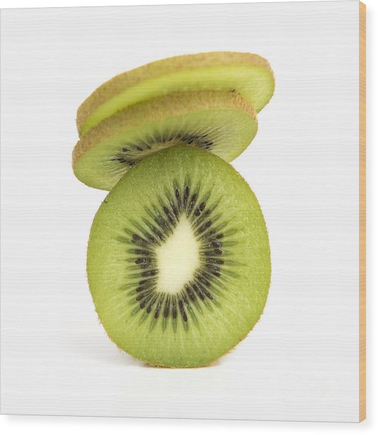Sliced Kiwis Wood Print