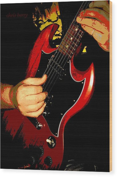 Red Gibson Guitar Wood Print