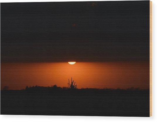 Sliver Of A Sunset Wood Print