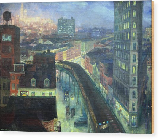 Sloan's The City From Greenwich Village Wood Print