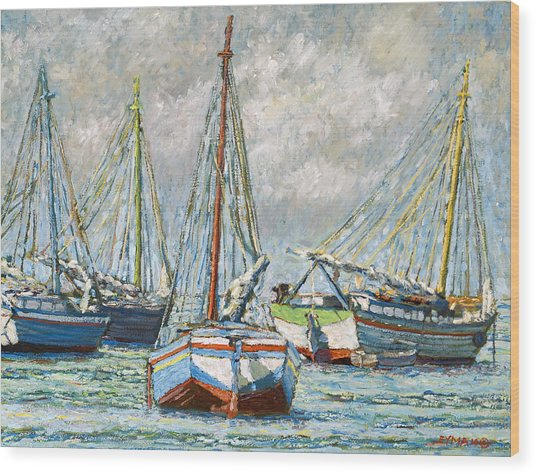 Sloops At Rest Wood Print